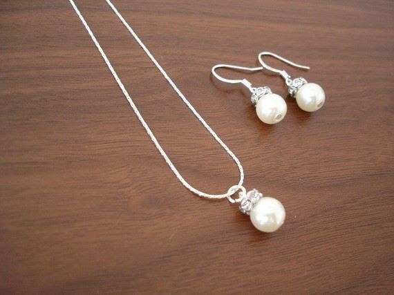Por Single Pearl Necklace And Earring Sets Bridal Or Bridesmaid