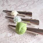 Mint Julep Hair Clip Set Alligator Clip Silver Lime Green Cream Girls Kids.