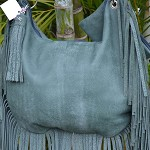 GREEN LEATHER  FRINGED HANDBAG