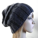 Slouchy hat wide band charcoal dark grey gray pure wool hand knit slouch unisex