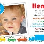 Printable Custom Boys Birthday Party Invitation - Cars