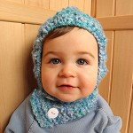 Coverall hat scarf pixie hood toddler baby boy hand knit blue 12-24 months 1T-2T