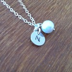 Hand stamped initial silver necklace