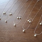 5 Single Pearl  Necklace & Earrings Bridesmaid Sets