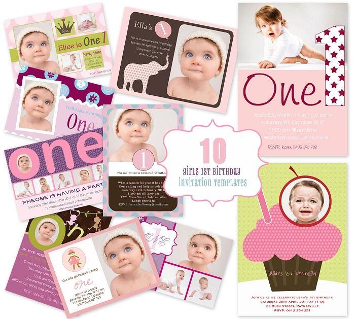 Mini template pack 10 girls 1st birthday photo invitation designs mini template pack 10 girls 1st birthday photo invitation designs stopboris Image collections