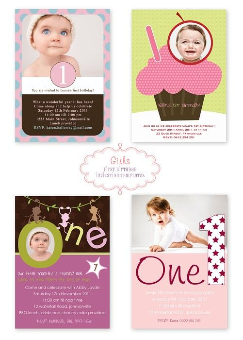 Mini template pack 10 girls 1st birthday photo invitation designs 10 girls 1st birthday photo invitation designs stopboris Choice Image