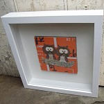 Two owls  - original collage - framed artwork