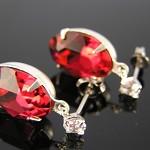 ~ RUBY RED ~ vintage Swarovski oval sterling silver cubic zirconia stud earrings
