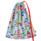 Durable Drawstring Bag. Library or Kinder. Bright Colourful Houses / Apartments.