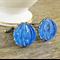 Blue Cufflinks Vintage Wedding Bridal Groom Cuff Links Brass Glass Ridged