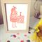 Ice Cream Girl - lino cut handprinted artwork