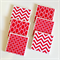 6 Ceramic Tile Drink Coasters Geometric Chevron Square Chain Link Moroccan Red