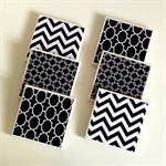 6 Ceramic Tile Drink Coasters Geometric Chevron Chain Link Moroccan Black White