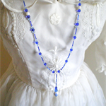 1920s Style Long Blue and White Beaded Blossom Necklace