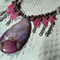 Boho Magic..Sea Sediment Jasper Rose Quartz brown purple pink chain necklace