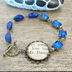 Mr Darcy Bracelet Asymmetrical Vintage Jewel Sapphire Blue Brass Asymmetry