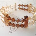 Swarovski Topaz & Gold crystals, Sterling Silver, double bracelet
