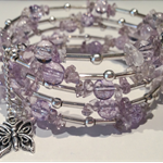 Amethyst beads and silver wrap bracelet