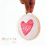 Embroidery Hoop Wall Red Heart on light brown linen 11 cm **MADE TO ORDER**