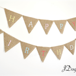 HAPPY BIRTHDAY PARTY FLAGS DECORATION  VINTAGE RUSTIC JDOG