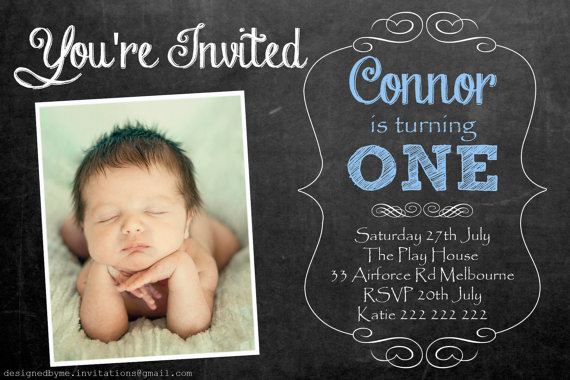 Pink or Blue Chalk Board Personalised 1st Birthday Invitation – Custom 1st Birthday Invitations