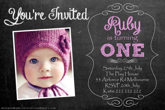Pink Or Blue Chalk Board Personalised 1st Birthday Invitation