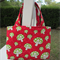 Girls Bag - Red with Green & White Mushrooms, Red Handles