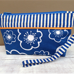 Clutch:  Blue & Orange Bold Stripe & Floral