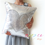 Decorative Silver Cushion Heart **MADE TO ORDER**
