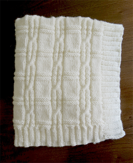Hand Knitted Baby Rug/Blanket, with Beautiful Cable Detail