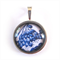 Blue and White Round Pendant Necklace