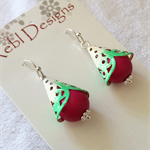 Hand Coloured Drop earrings in Hot Pink and Green ,