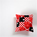 Patchwork Pincushion - Red, Black & White circles, spots & dots.