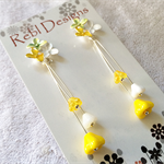 Hand Coloured Flower Studs in White, Lemon and Yellow,