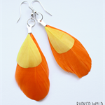 Sunset feather earrings, real feather earings, Orange & Yellow , boho jewellery