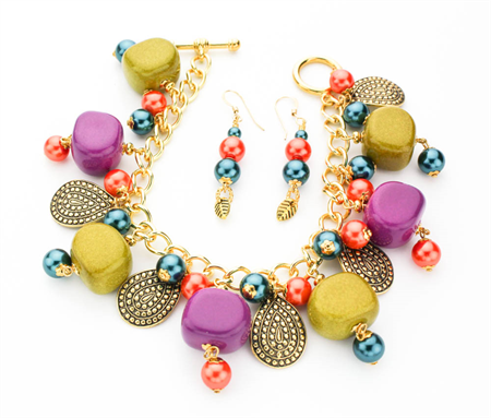 Olive Green and Purple Bracelet on Gold Plated Chain with Matching Earrings