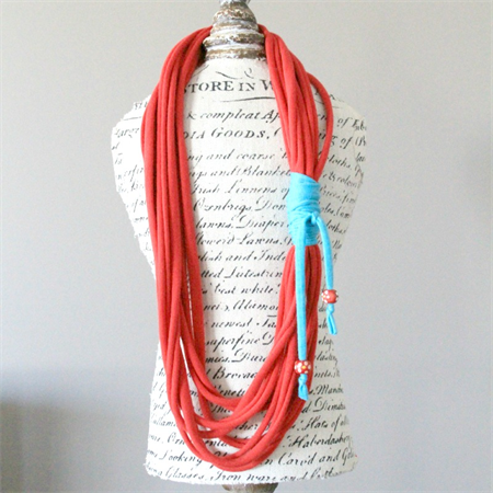 Red & Turquoise Tshirt Necklace