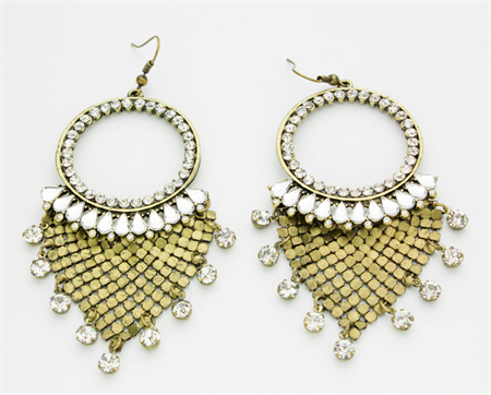 Crystal and Antiqued Brass Chandelier Earrings