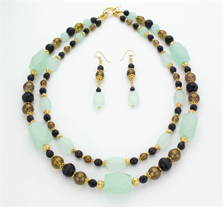 Green and Gold Necklace  with Matching Earrings