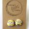 {Fabric Covered Buttons} Minion Earrings