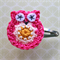 Crochet Owl Hairclip - hot pink