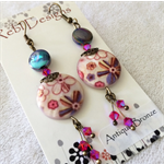 Printed Mother of pearl Earrings in pinks and blues