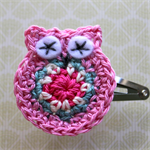Crochet Owl Hairclip - pink, teal blue