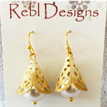 Hand Coloured Drop earrings in cream and tan tones.