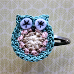 Crochet Owl Hairclip - teal blue, cream
