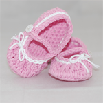 Baby Shoes, 6 to 12 months, Crochet, Ballet Shoes, Booties, Pink shoes.