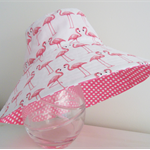 Girls beautiful summer hat in flamingo pattern