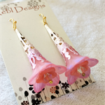 Hand Coloured Pink Flower Earrings