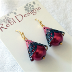 Hand Coloured Drop earrings in Black and Red