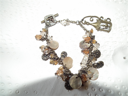 Flora & Fauna. SALE charm bracelet Birdcage Mother of Pearl  bracelet bangle